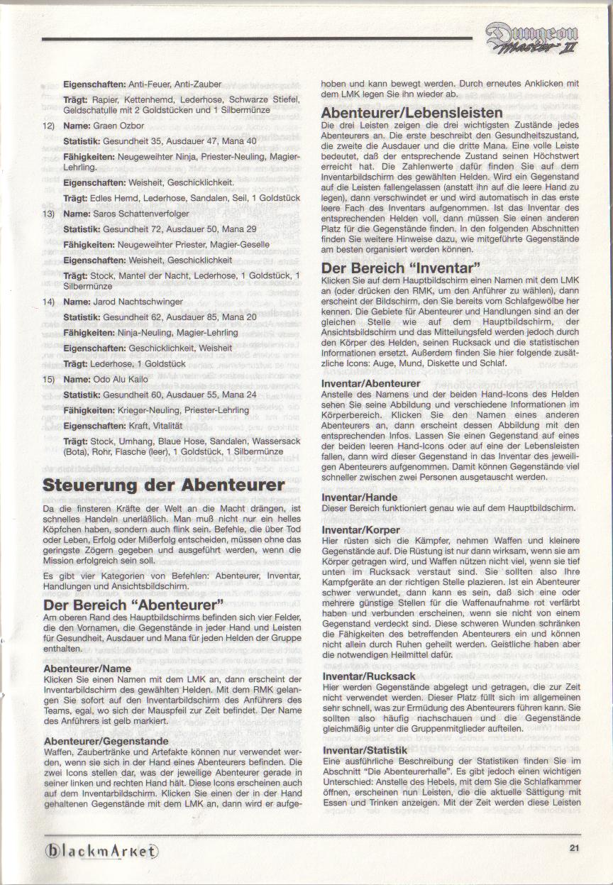 Dungeon Master II for PC (Blackmarket) Manual - Page 21