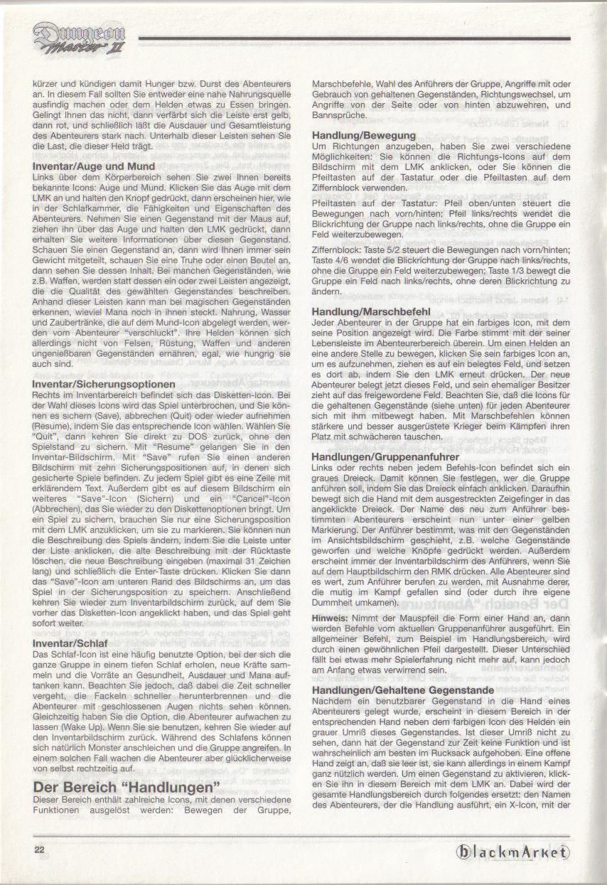 Dungeon Master II for PC (Blackmarket) Manual - Page 22