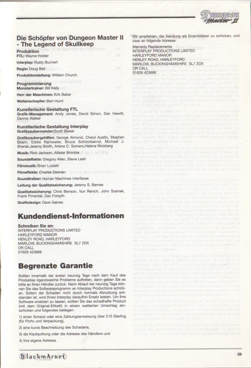Dungeon Master II for PC (Blackmarket) Manual - Credits / Copyright (German)