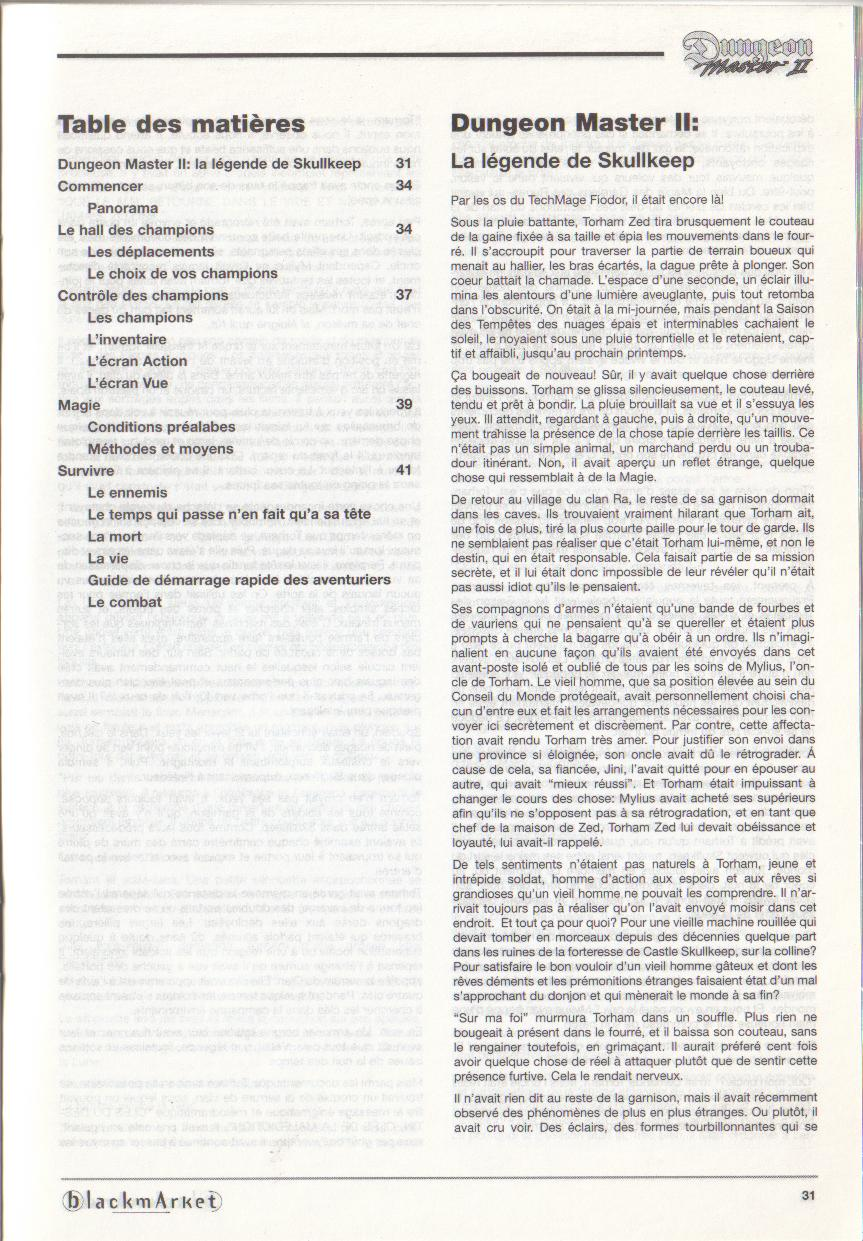 Dungeon Master II for PC (Blackmarket) Manual - Contents (French)