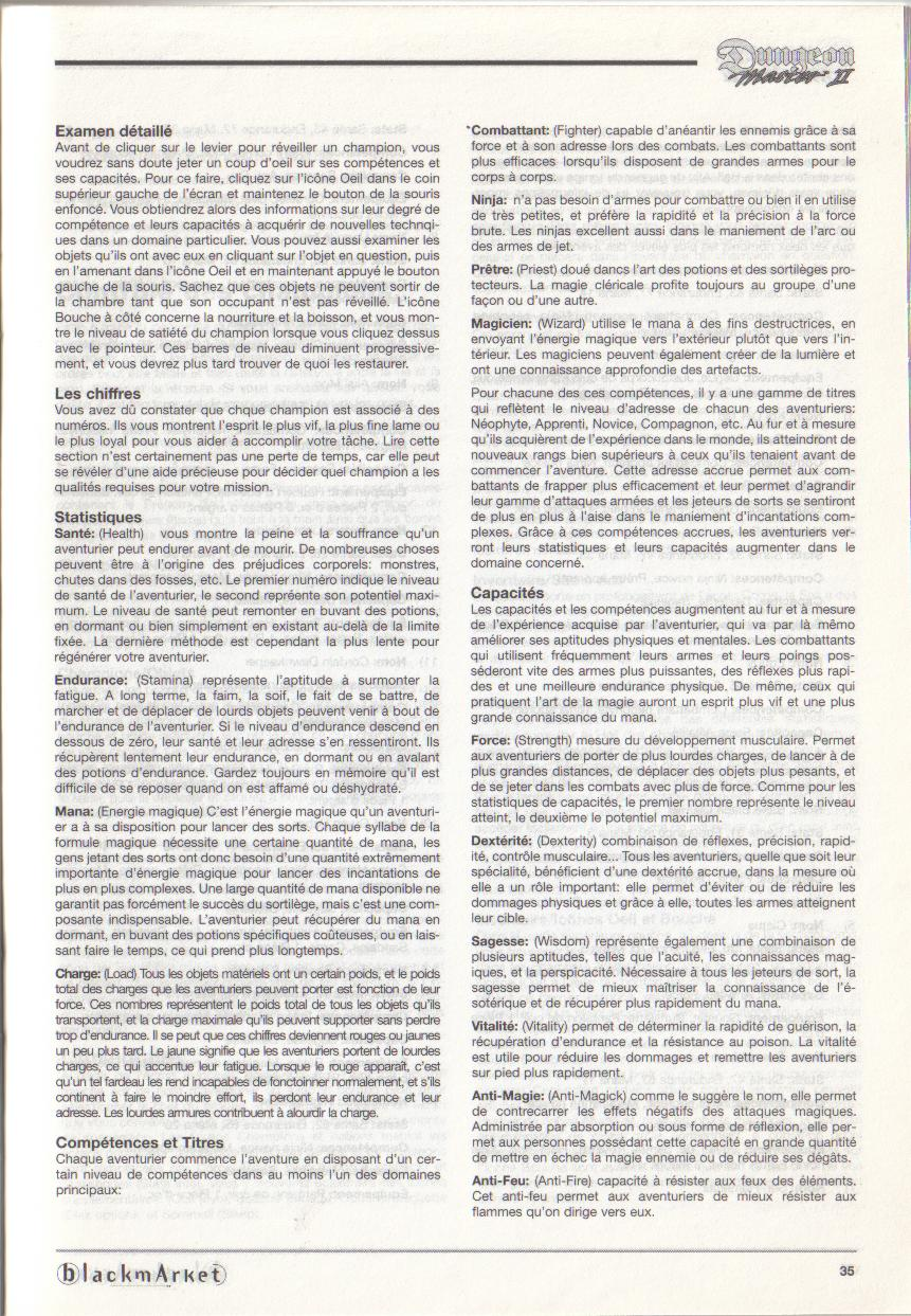 Dungeon Master II for PC (Blackmarket) Manual - Page 35