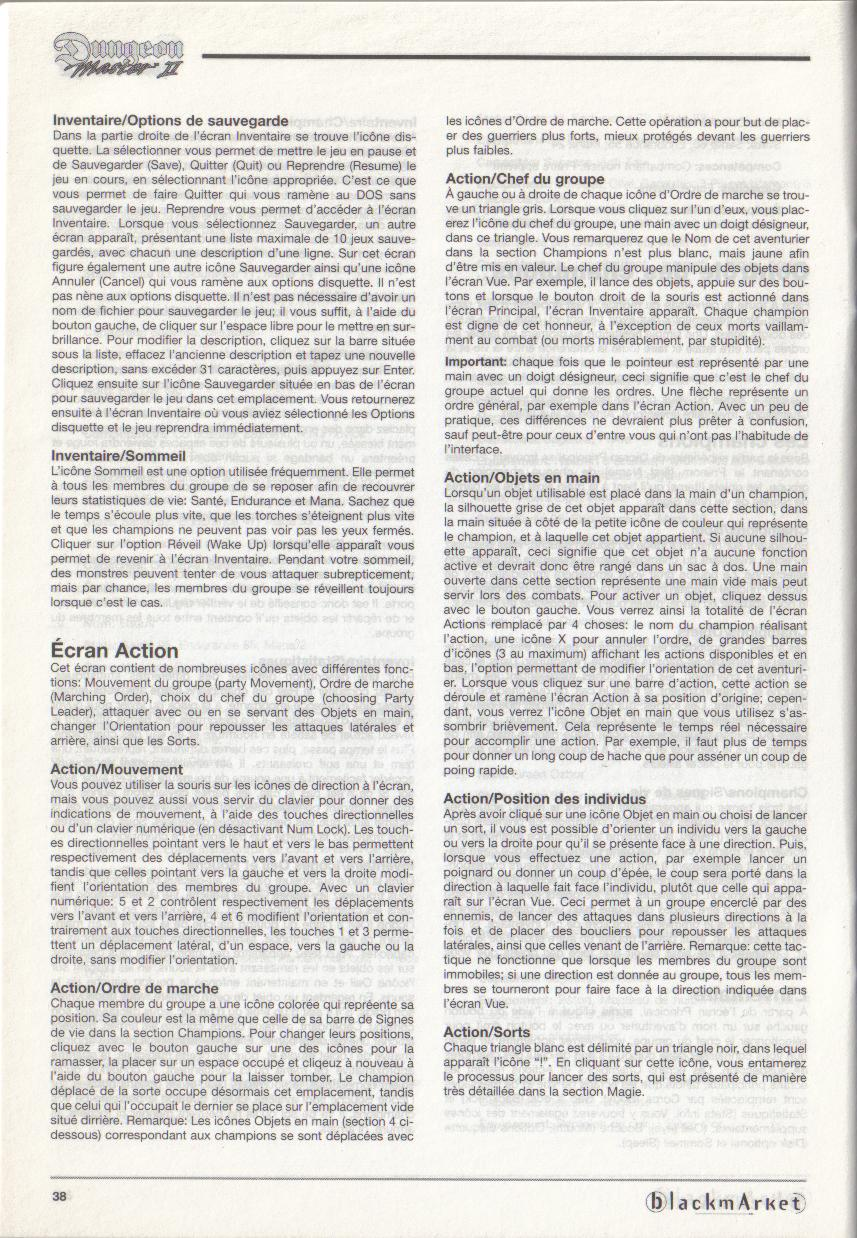 Dungeon Master II for PC (Blackmarket) Manual - Page 38