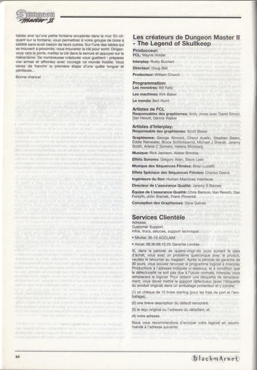 Dungeon Master II for PC (Blackmarket) Manual - Credits (French)