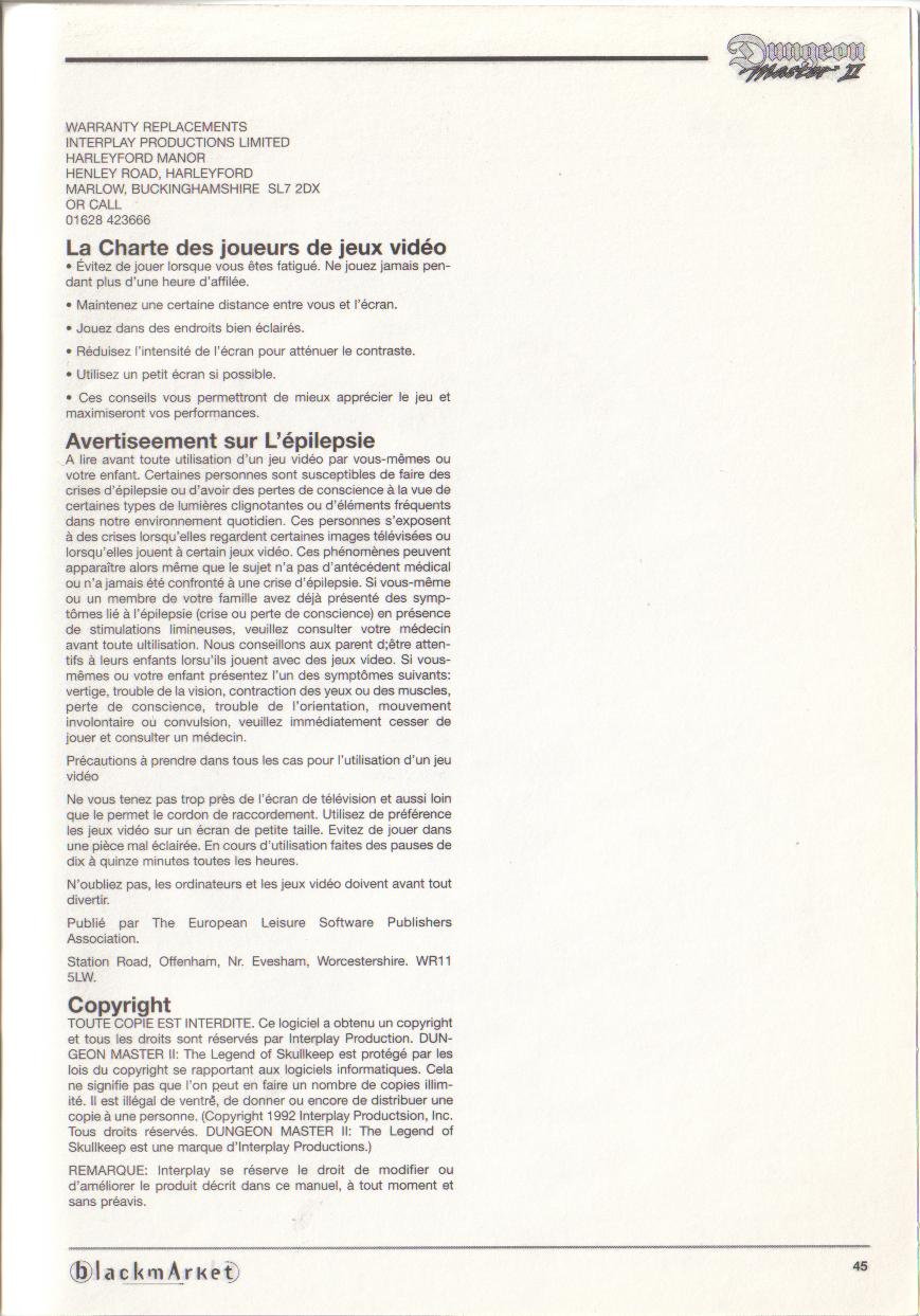Dungeon Master II for PC (Blackmarket) Manual - Copyright (French)