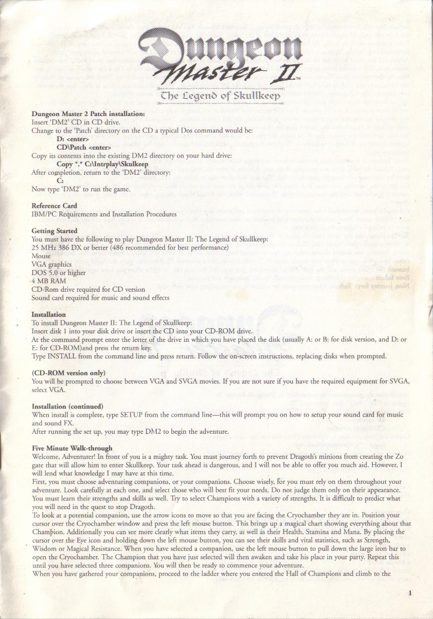 Dungeon Master II for PC (Blackmarket) Reference Card - Page 1
