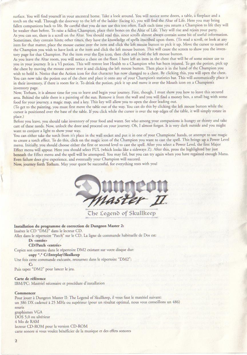 Dungeon Master II for PC (Blackmarket) Reference Card - Page 2