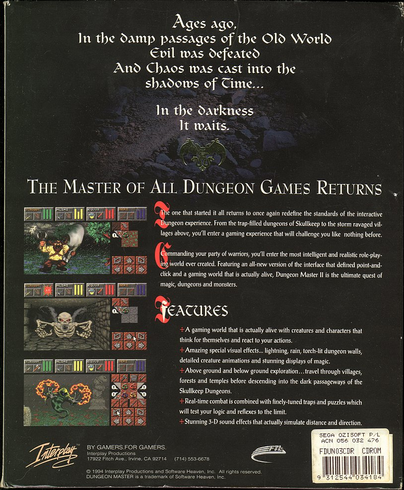 Dungeon Master II for PC - Box Back