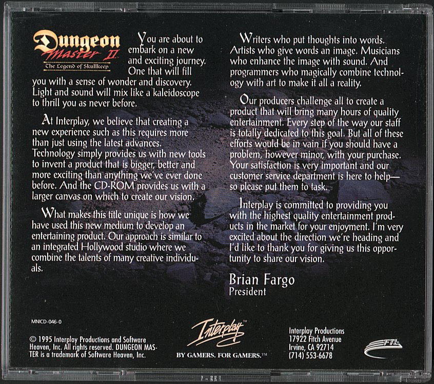 Dungeon Master II for PC - CD Box Back