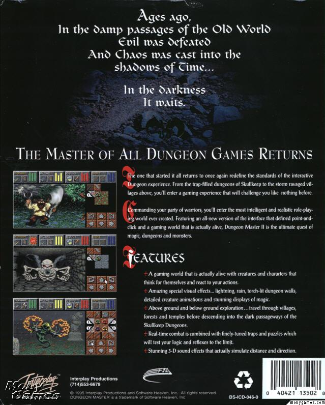 Dungeon Master II for PC (English, CD) - Box Back