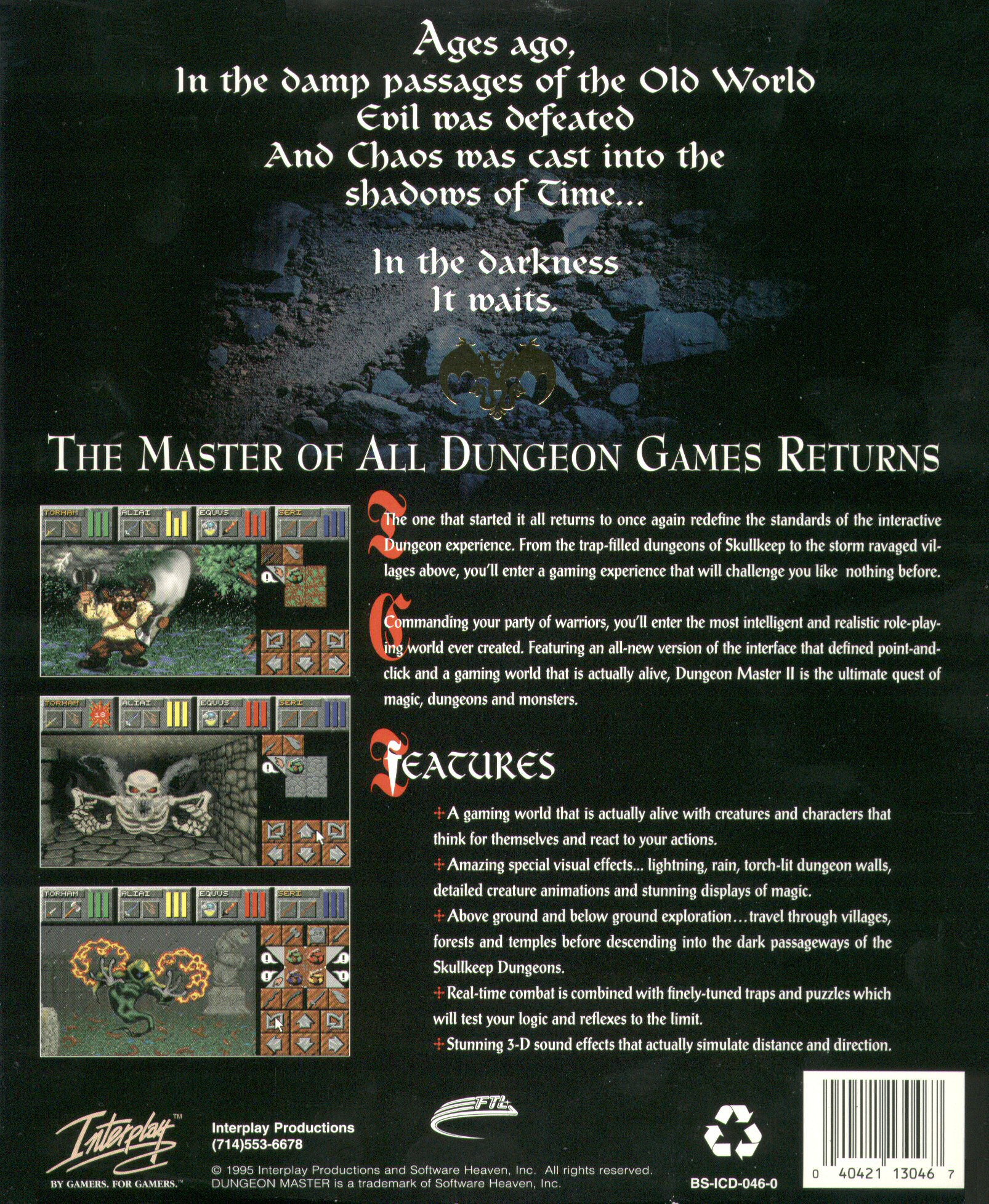 Dungeon Master II for PC (English, CD) - Outer Box Back