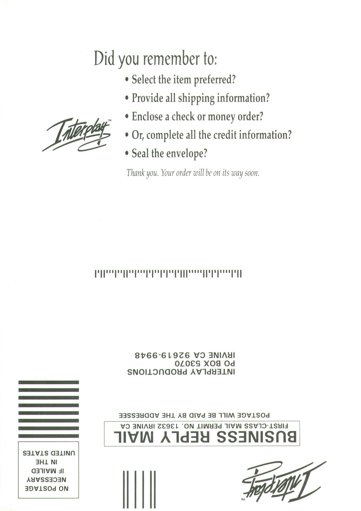 Dungeon Master II for PC (English, CD) - Poster Order Form - Back
