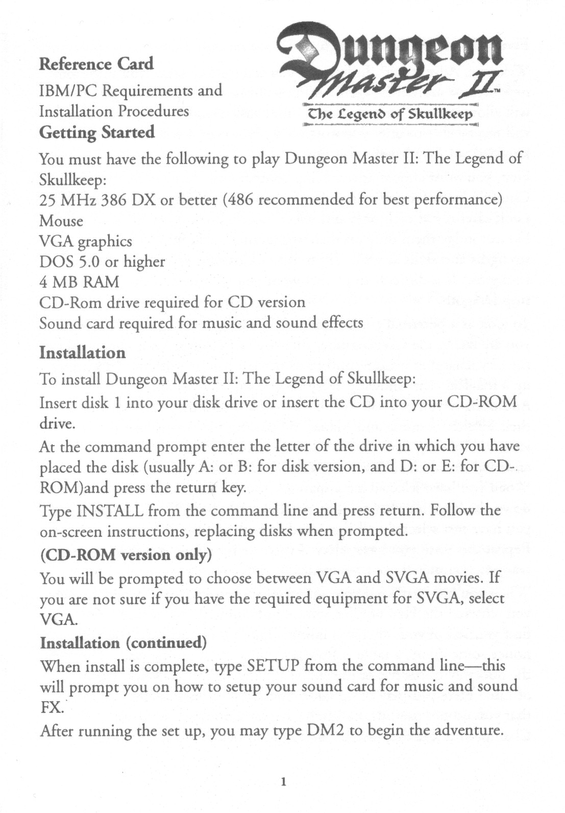 Dungeon Master II for PC (English, CD) - Reference Card - Page 1