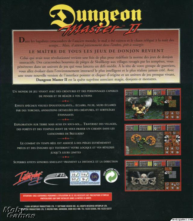 Dungeon Master II for PC (French, CD) - Box Back