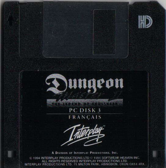 Dungeon Master II for PC - French Floppy Disk 3
