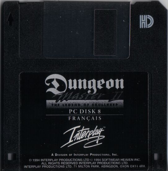 Dungeon Master II for PC - French Floppy Disk 8
