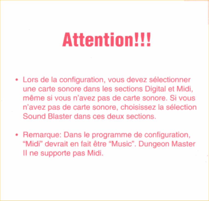 Dungeon Master II for PC - French Note Card