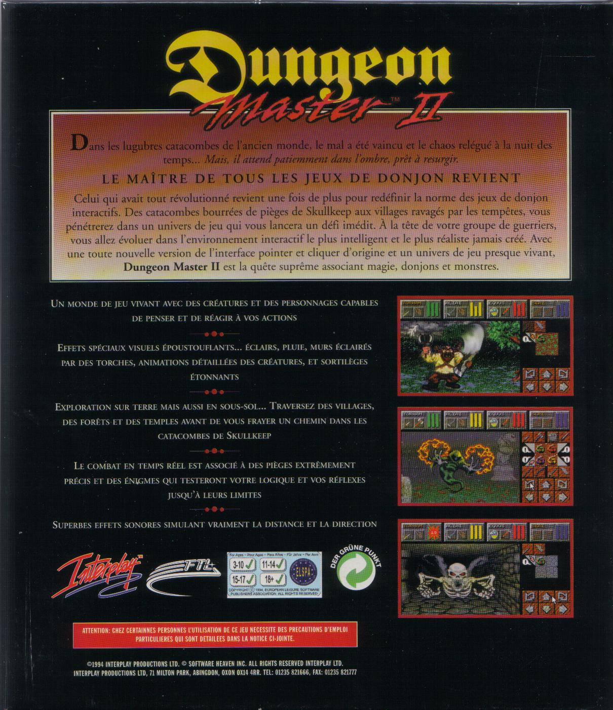 Dungeon Master II for PC (French, Floppy) - Box Back
