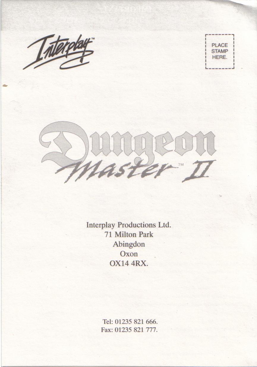 Dungeon Master II for PC (French, Floppy) - Registration Card Front
