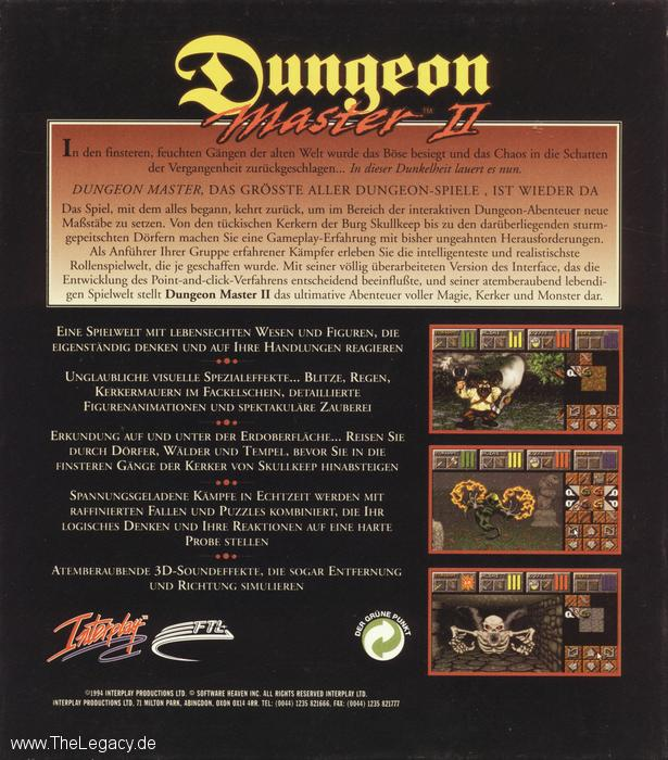 Dungeon Master II for PC (German, CD) - Box Back