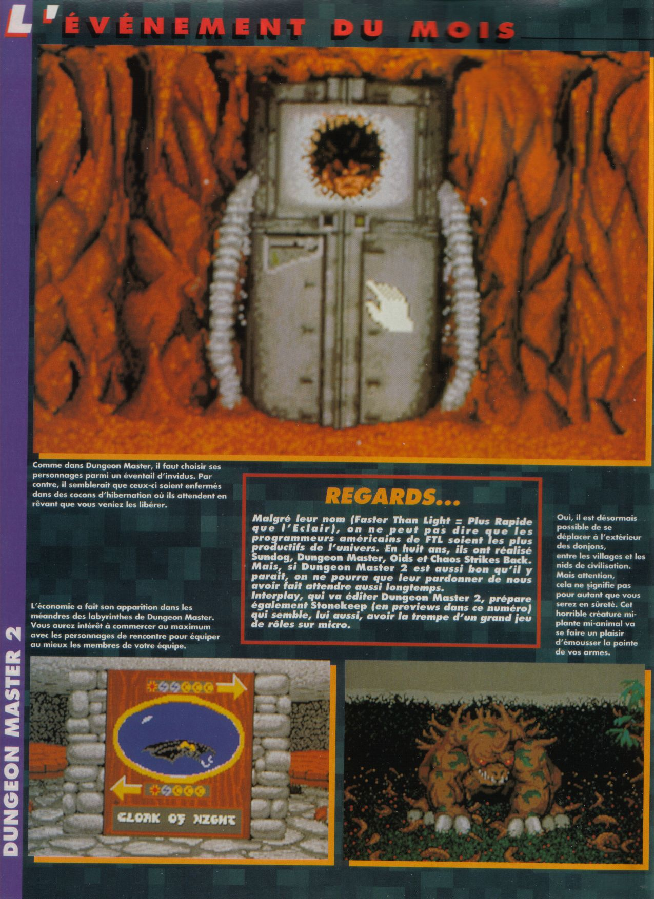 Dungeon Master II for PC / Amiga / Atari ST Preview published in French magazine 'Tilt', Issue #117, September 1993, Page 16