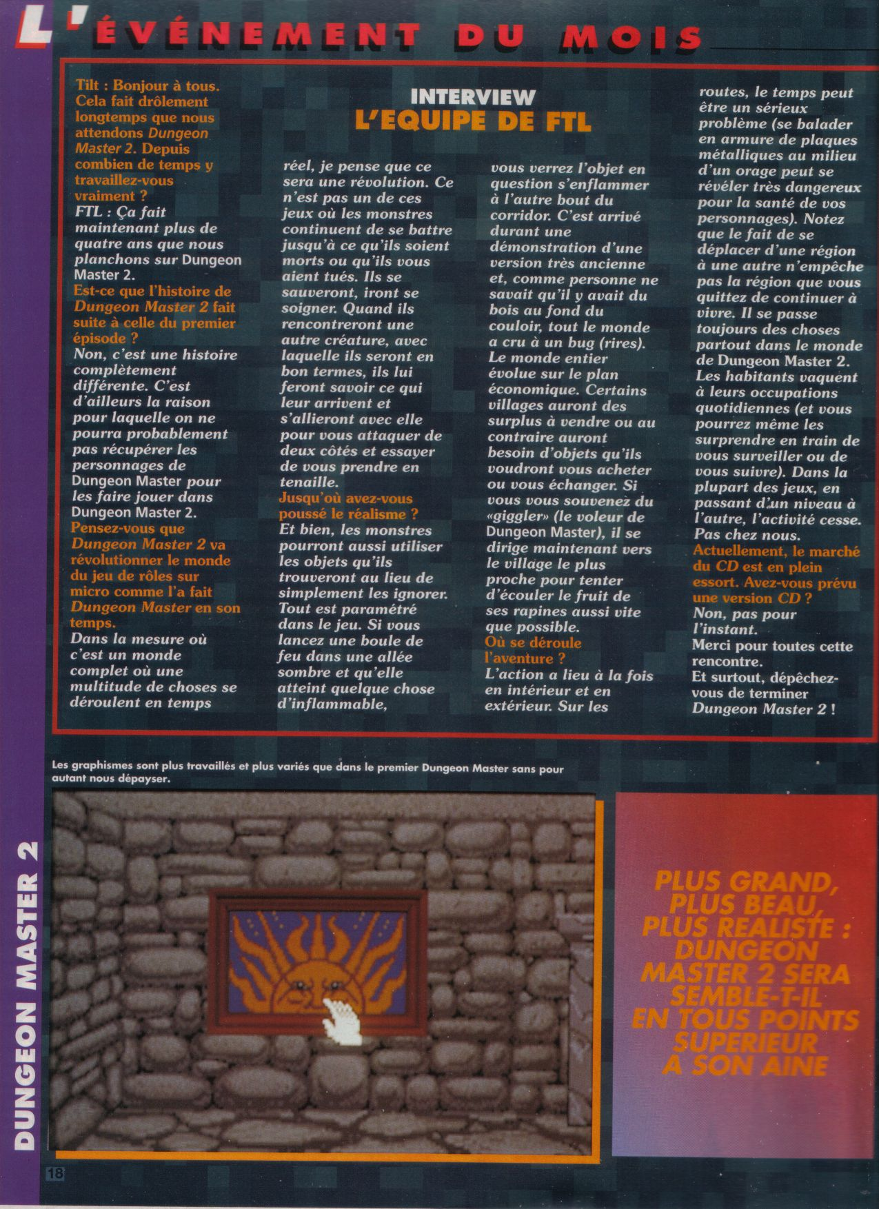 Dungeon Master II for PC / Amiga / Atari ST Preview published in French magazine 'Tilt', Issue #117, September 1993, Page 18