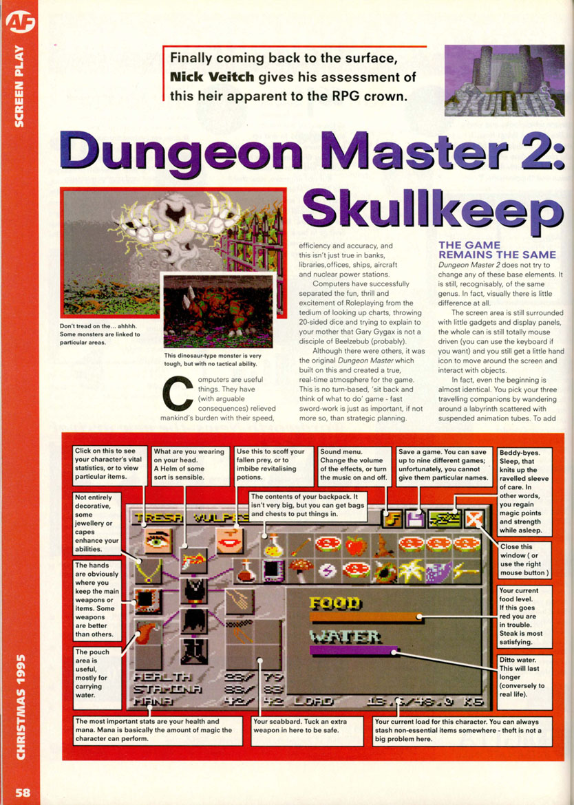 Dungeon Master II for Amiga Review published in British magazine 'Amiga Format', Issue #79, December 1995, Page 58