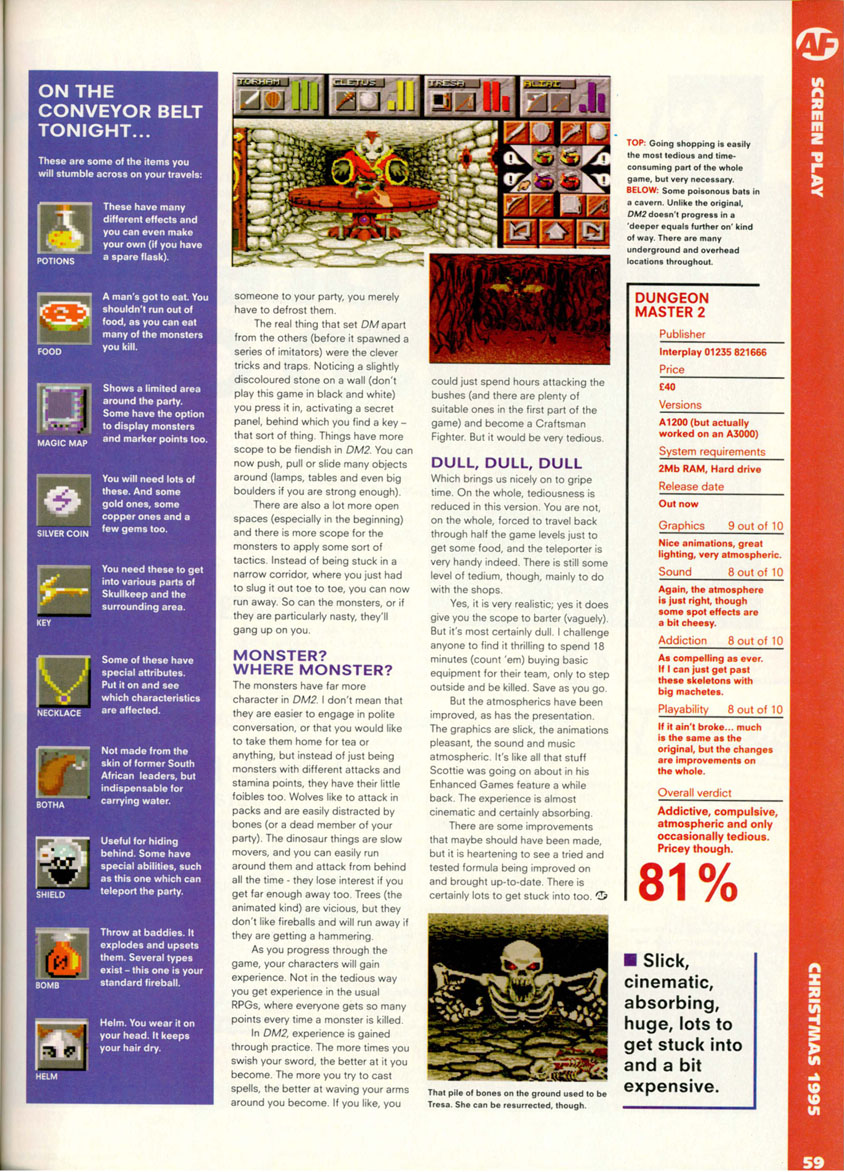 Dungeon Master II for Amiga Review published in British magazine 'Amiga Format', Issue #79, December 1995, Page 59