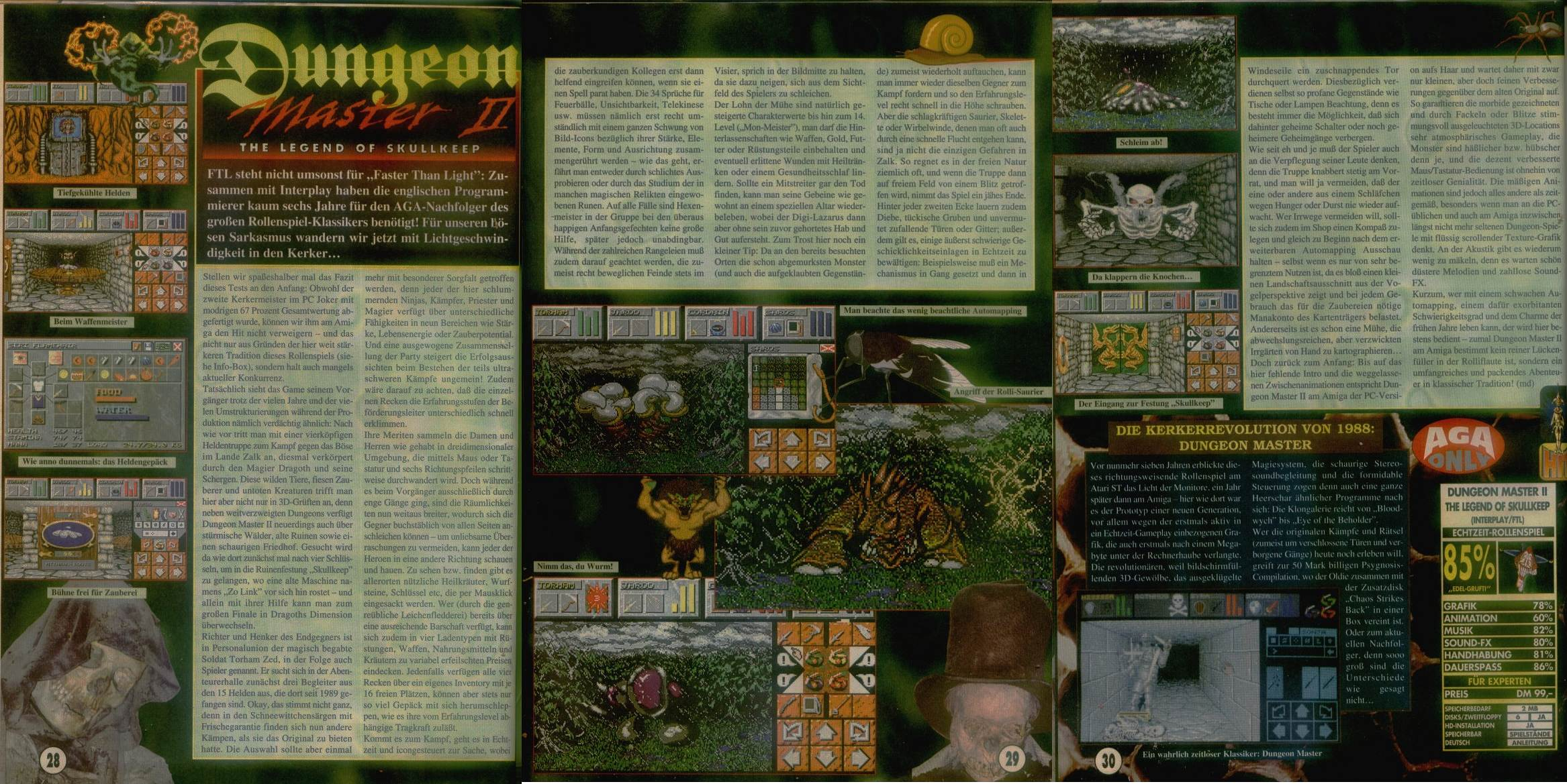 Dungeon Master II for Amiga Review published in German magazine 'Amiga Joker', October 1995, Pages 28-30