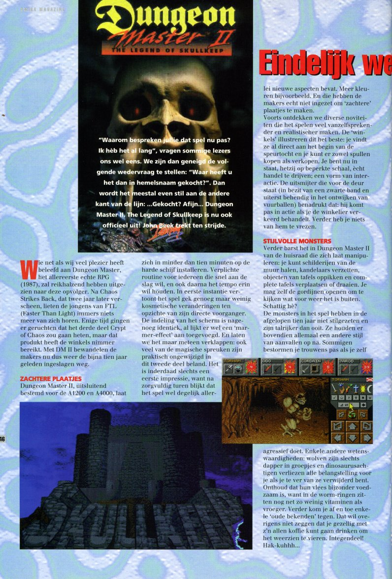 Dungeon Master II for Amiga Review published in Dutch magazine 'Amiga Magazine', Issue #38, March 1996, Pages 46
