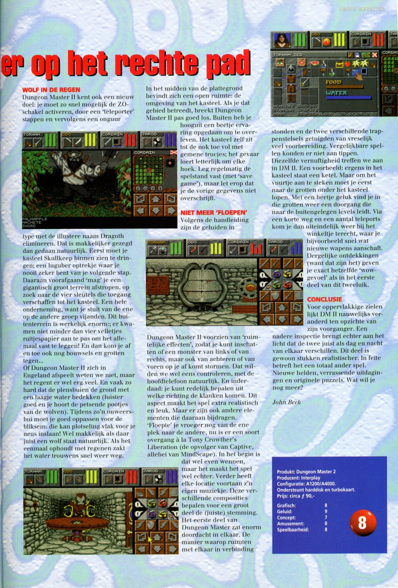 Dungeon Master II for Amiga Review published in Dutch magazine 'Amiga Magazine', Issue #38, March 1996, Pages 47
