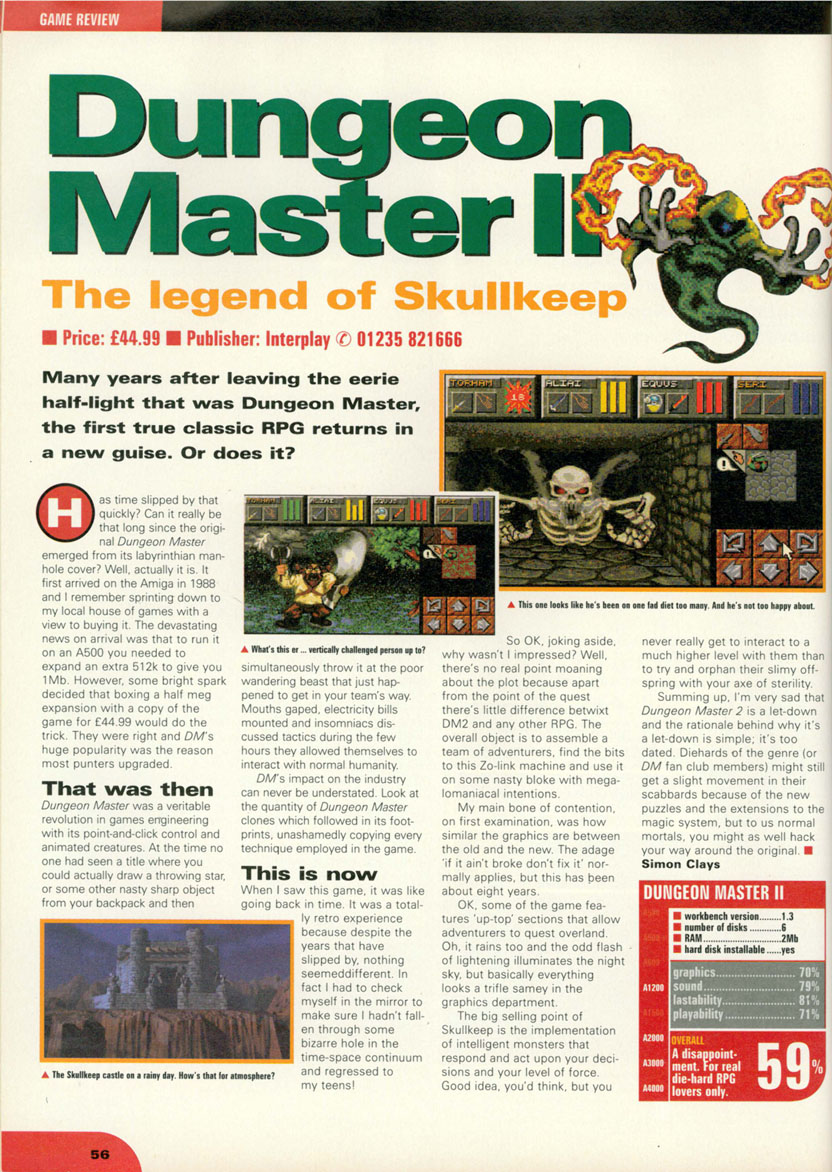 Dungeon Master II for Amiga Review published in British magazine 'CU Amiga', December 1995, Page 56