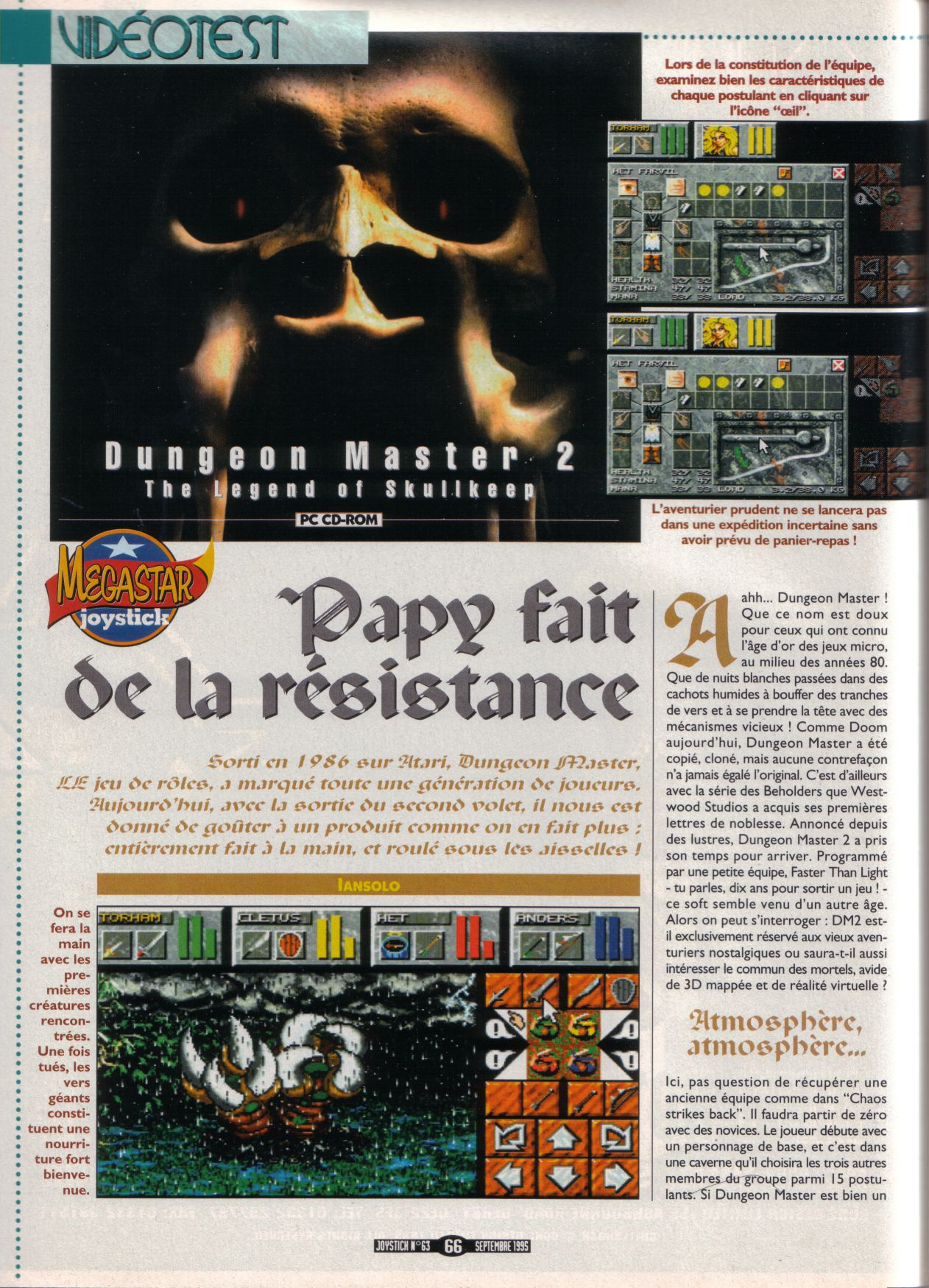 Dungeon Master II for PC Review published in French magazine 'Joystick', Issue #63, September 1995, Page 66