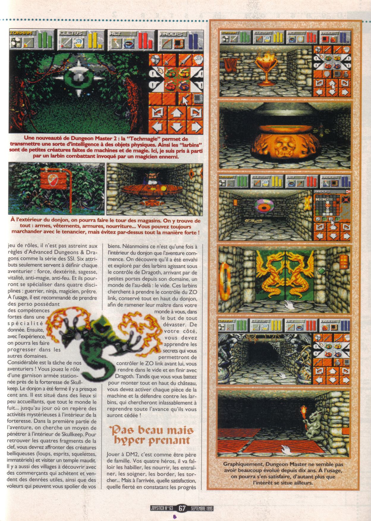 Dungeon Master II for PC Review published in French magazine 'Joystick', Issue #63, September 1995, Page 67