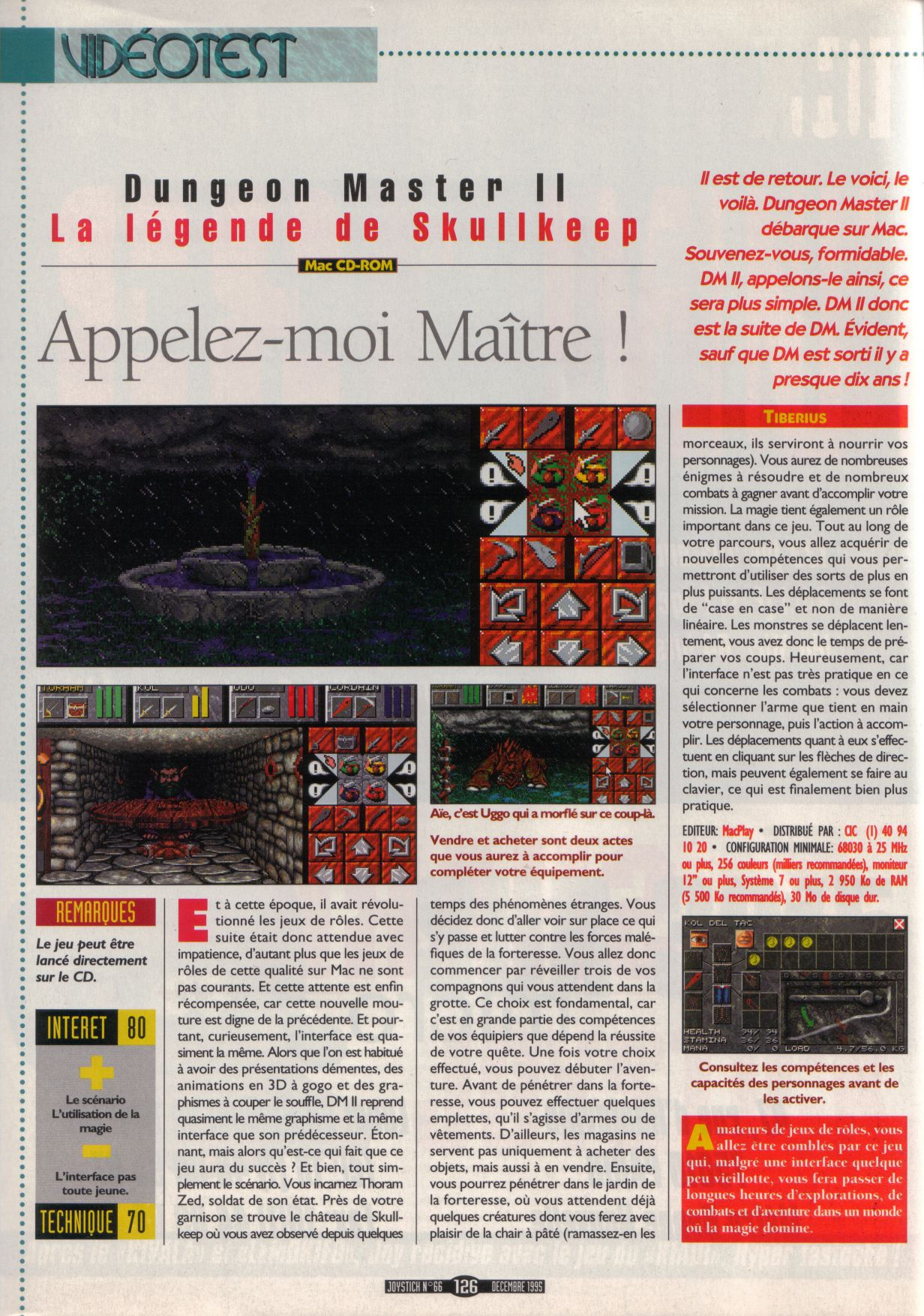 Dungeon Master II for Macintosh Review published in French magazine 'Joystick', Issue #66, December 1995, Page 126