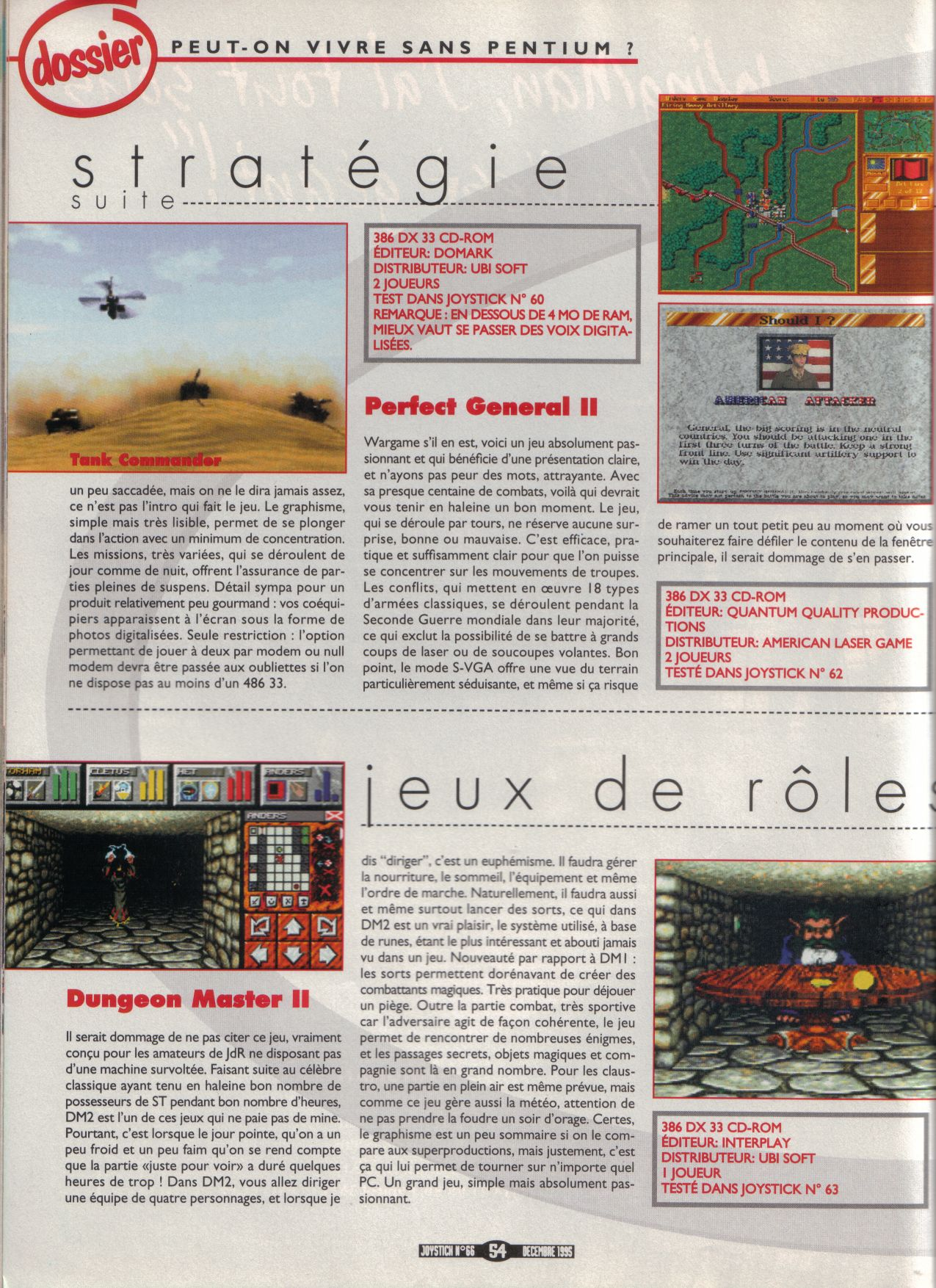 Dungeon Master II for Macintosh Review published in French magazine 'Joystick', Issue #66, December 1995, Page 54