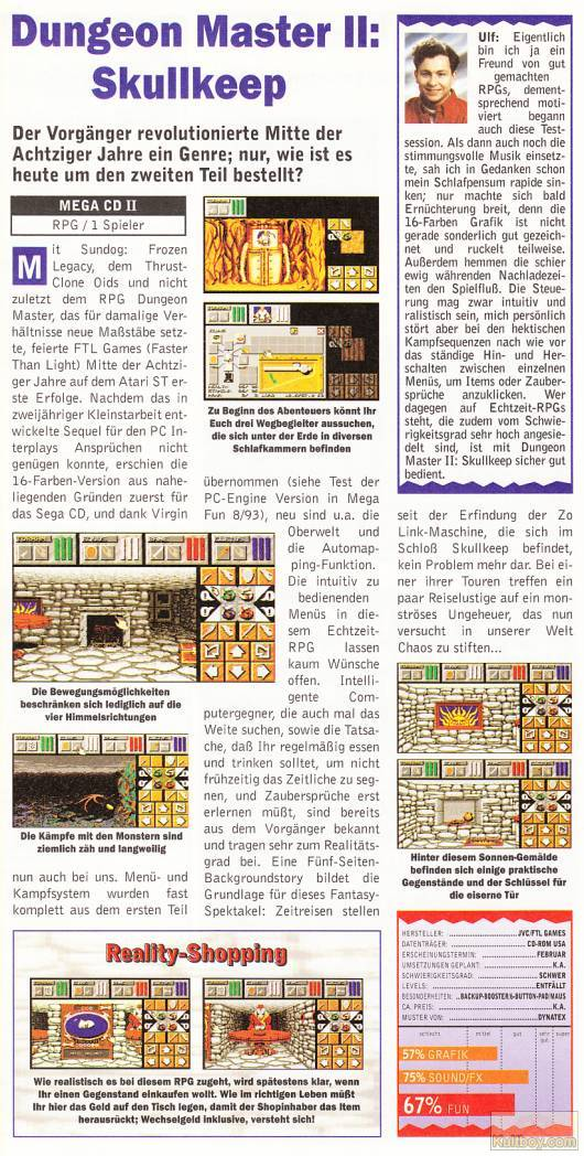 Dungeon Master II for Mega CD Review published in German magazine 'Mega Fun', Issue #3, March 1995