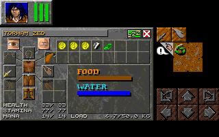 Dungeon Master II for Macintosh Screenshot - In game inventory (Compact layout)
