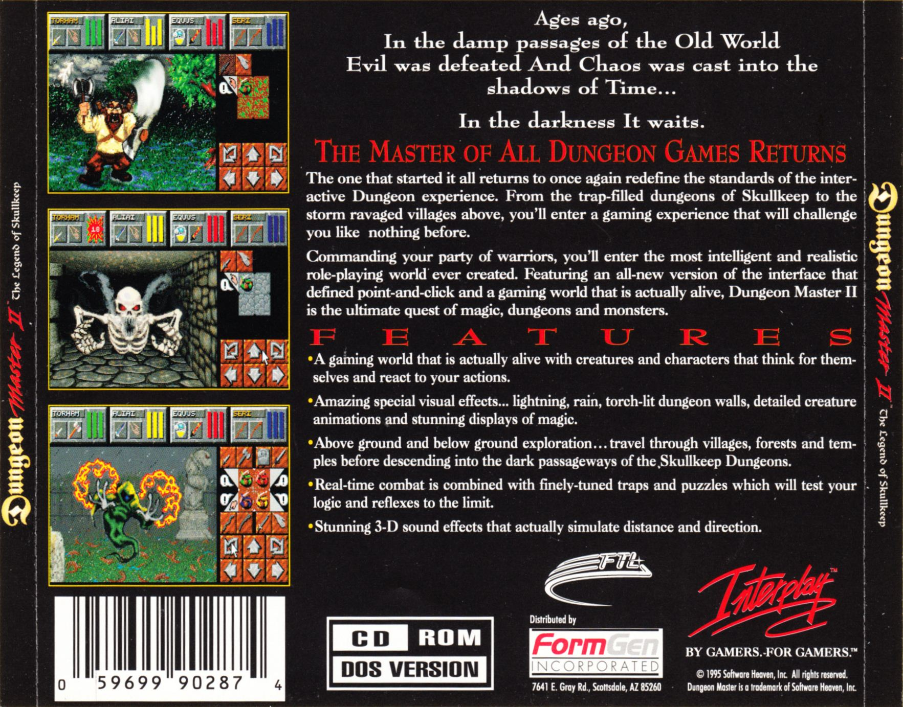 Demo - Dungeon Master II - US - PC - Back Card - Front - Scan