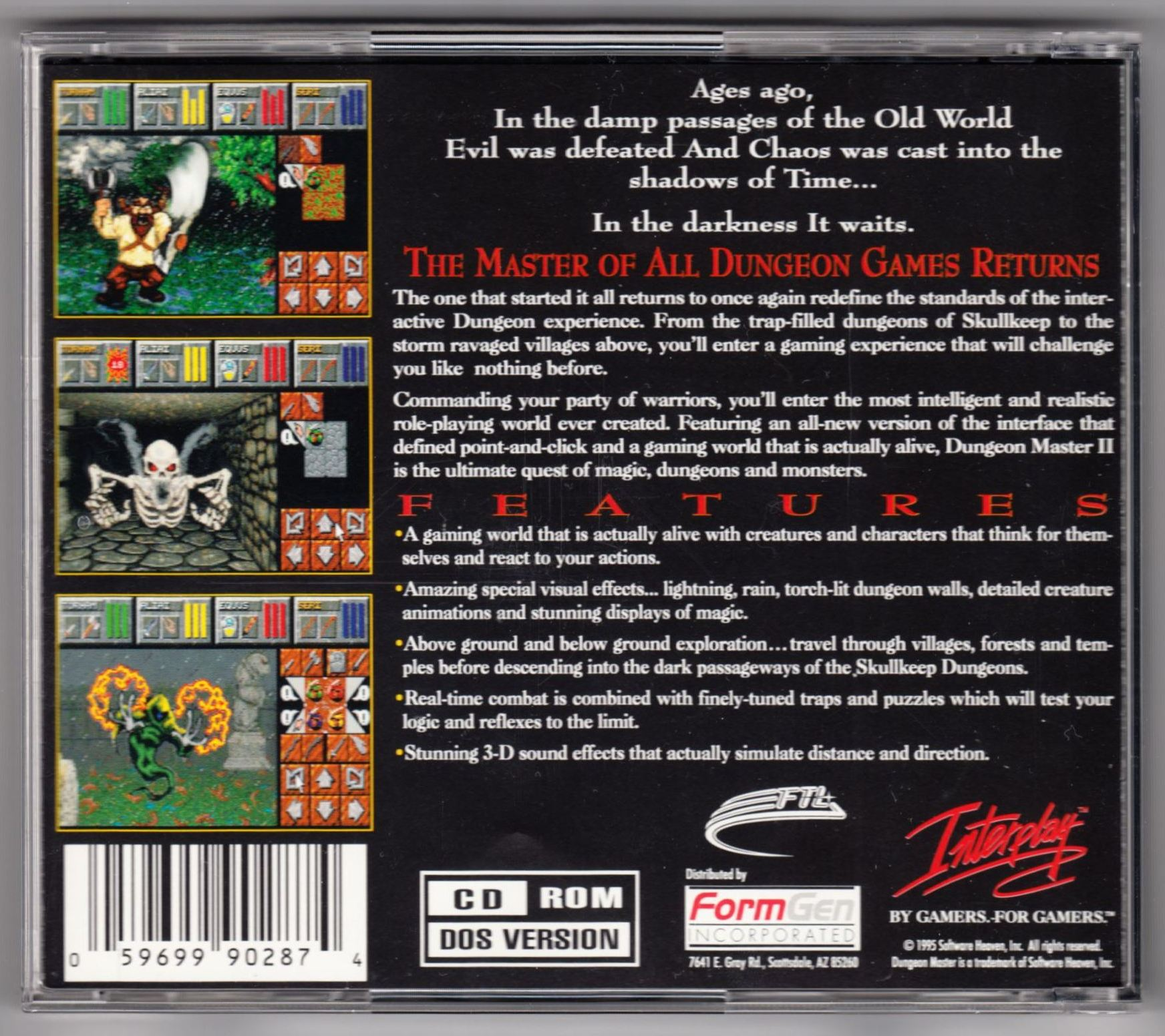 Demo - Dungeon Master II - US - PC - Box - Back - Scan