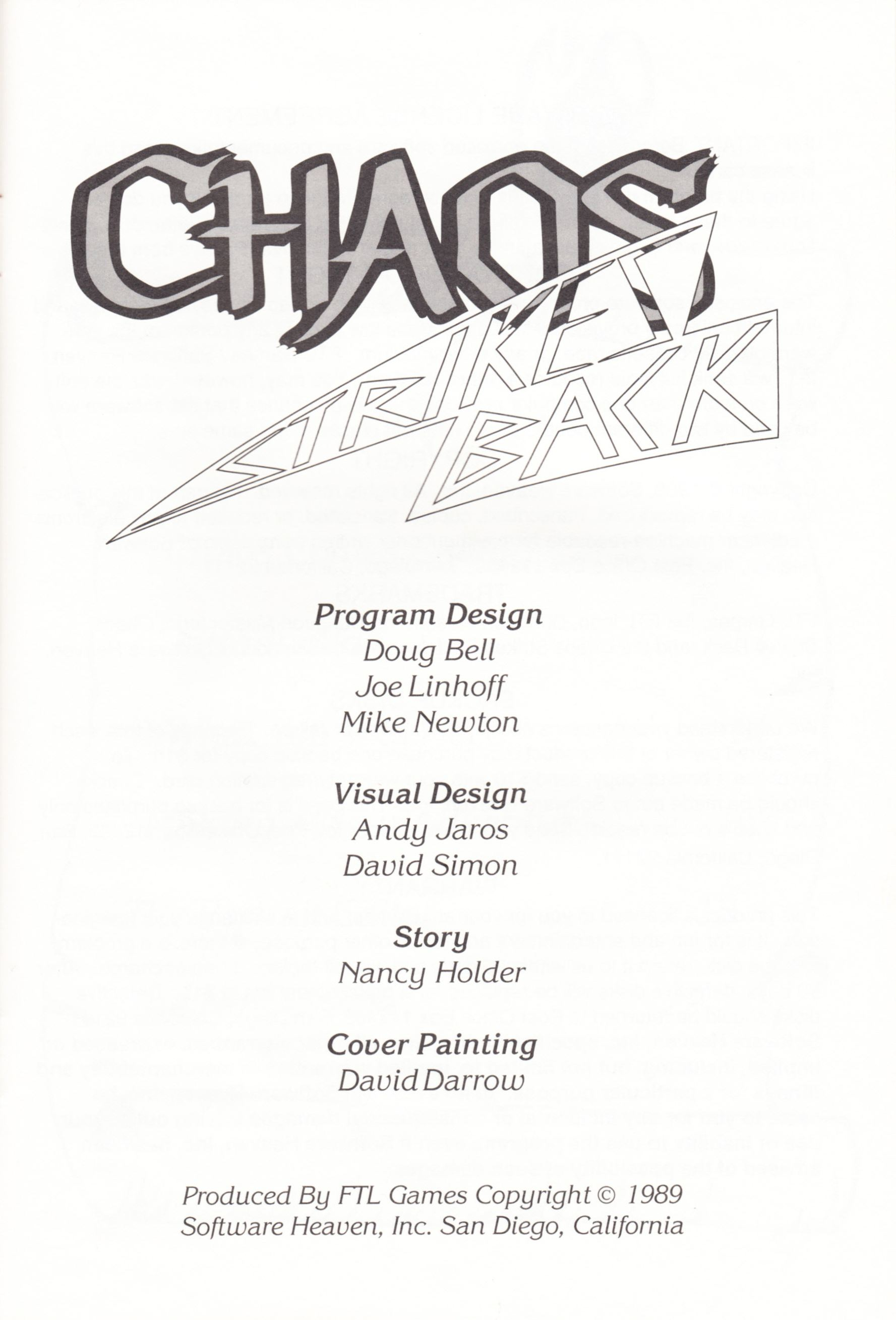 Game - Chaos Strikes Back - UK - Atari ST - Manual - Page 003 - Scan