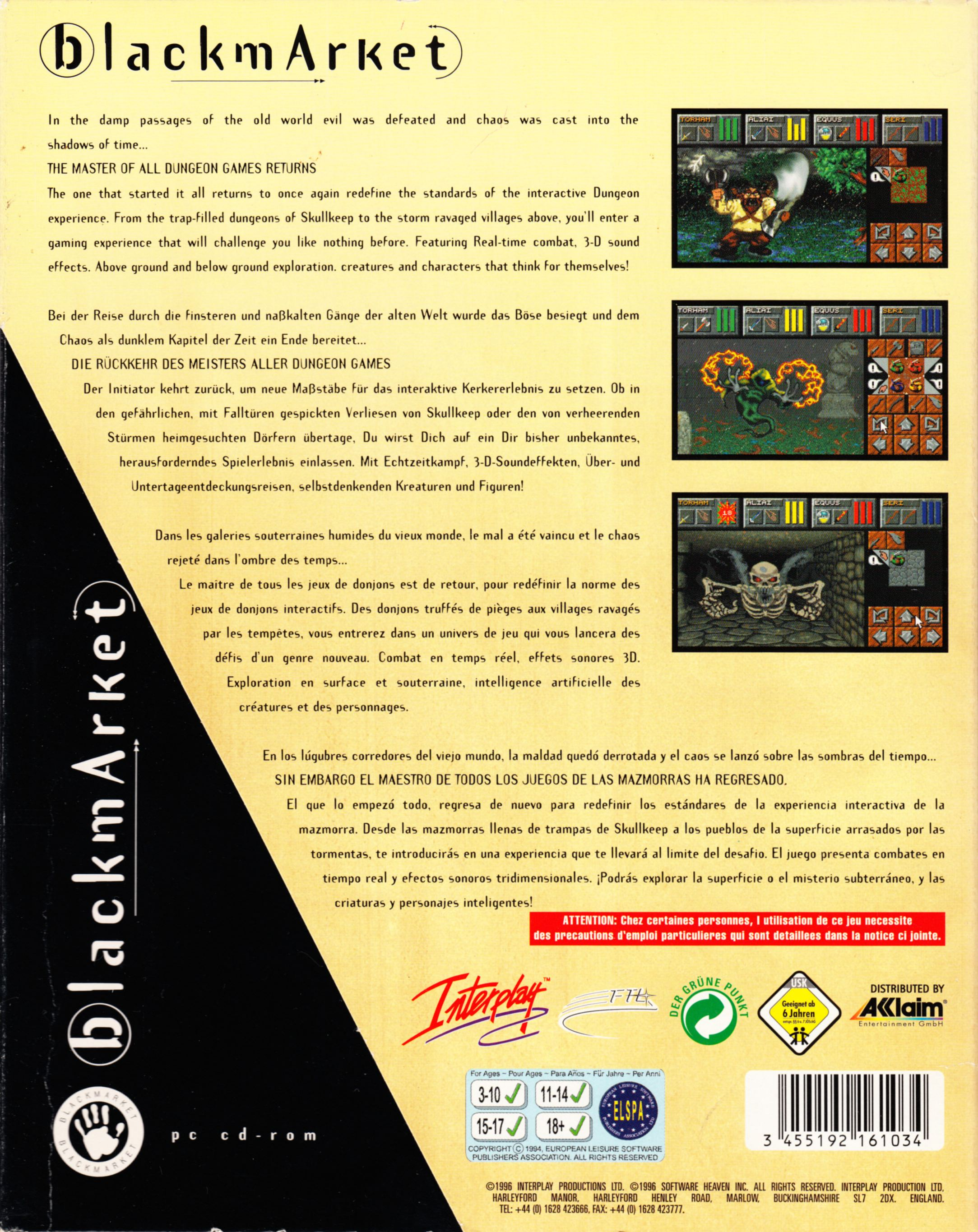 Game - Dungeon Master II - DE - PC - Blackmarket With Manual - Box With Sleeve - Back - Scan