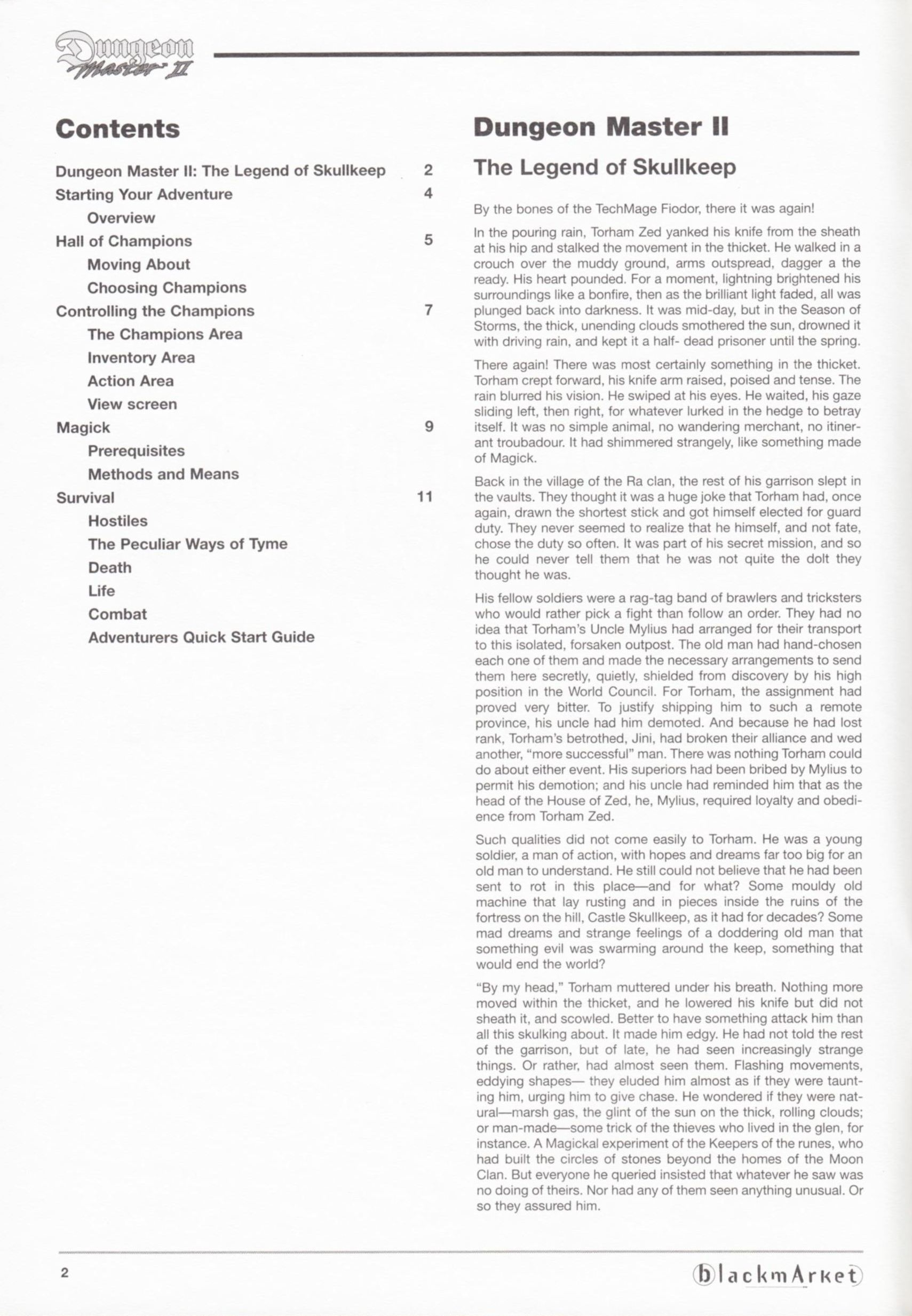 Game - Dungeon Master II - DE - PC - Blackmarket With Manual - Manual - Page 004 - Scan
