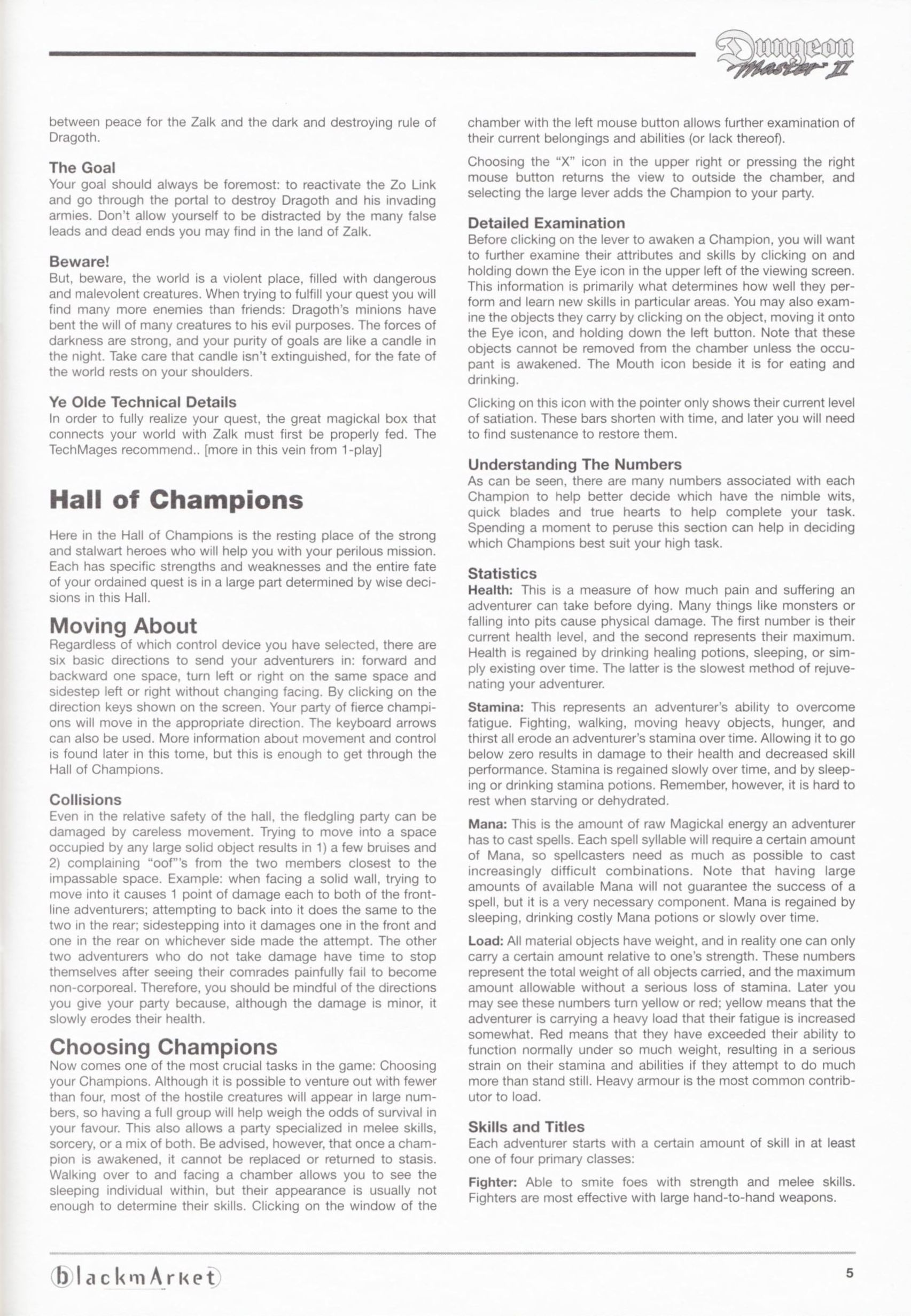 Game - Dungeon Master II - DE - PC - Blackmarket With Manual - Manual - Page 007 - Scan