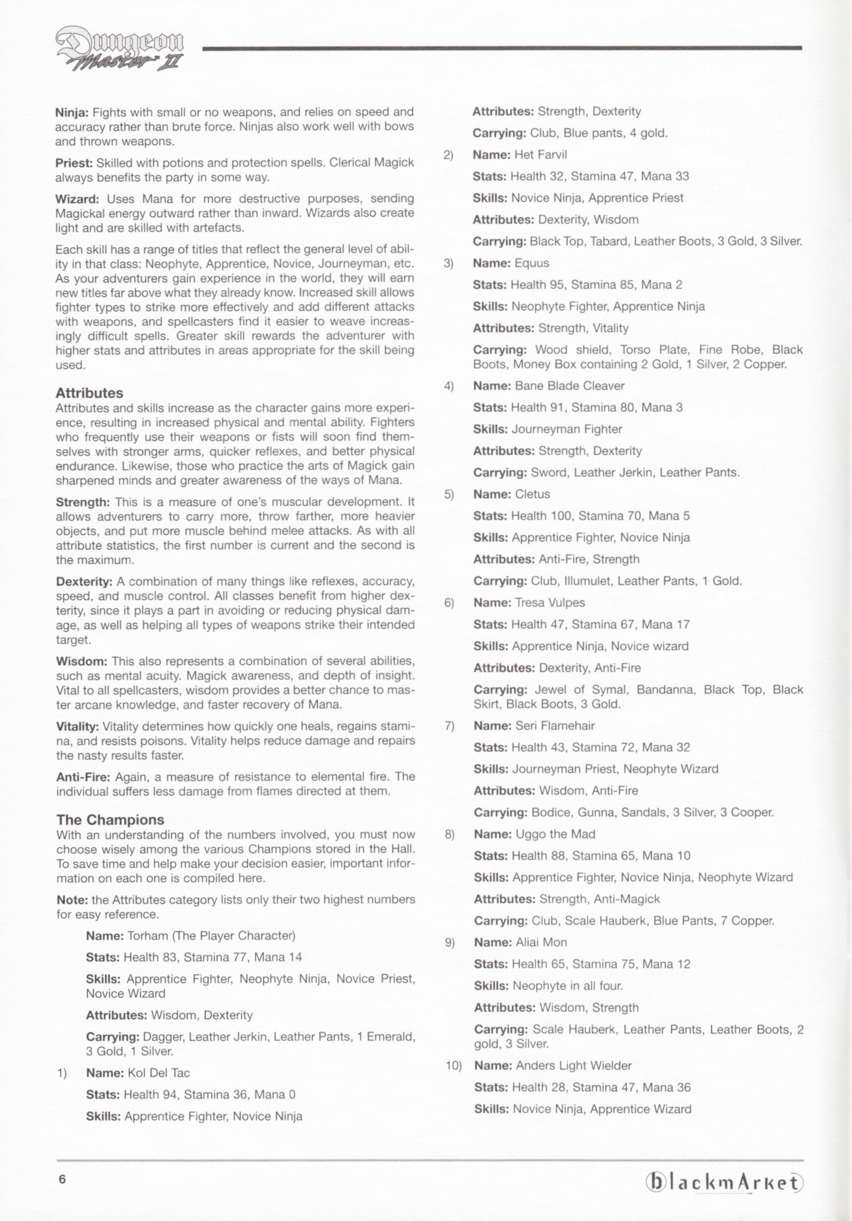 Game - Dungeon Master II - DE - PC - Blackmarket With Manual - Manual - Page 008 - Scan