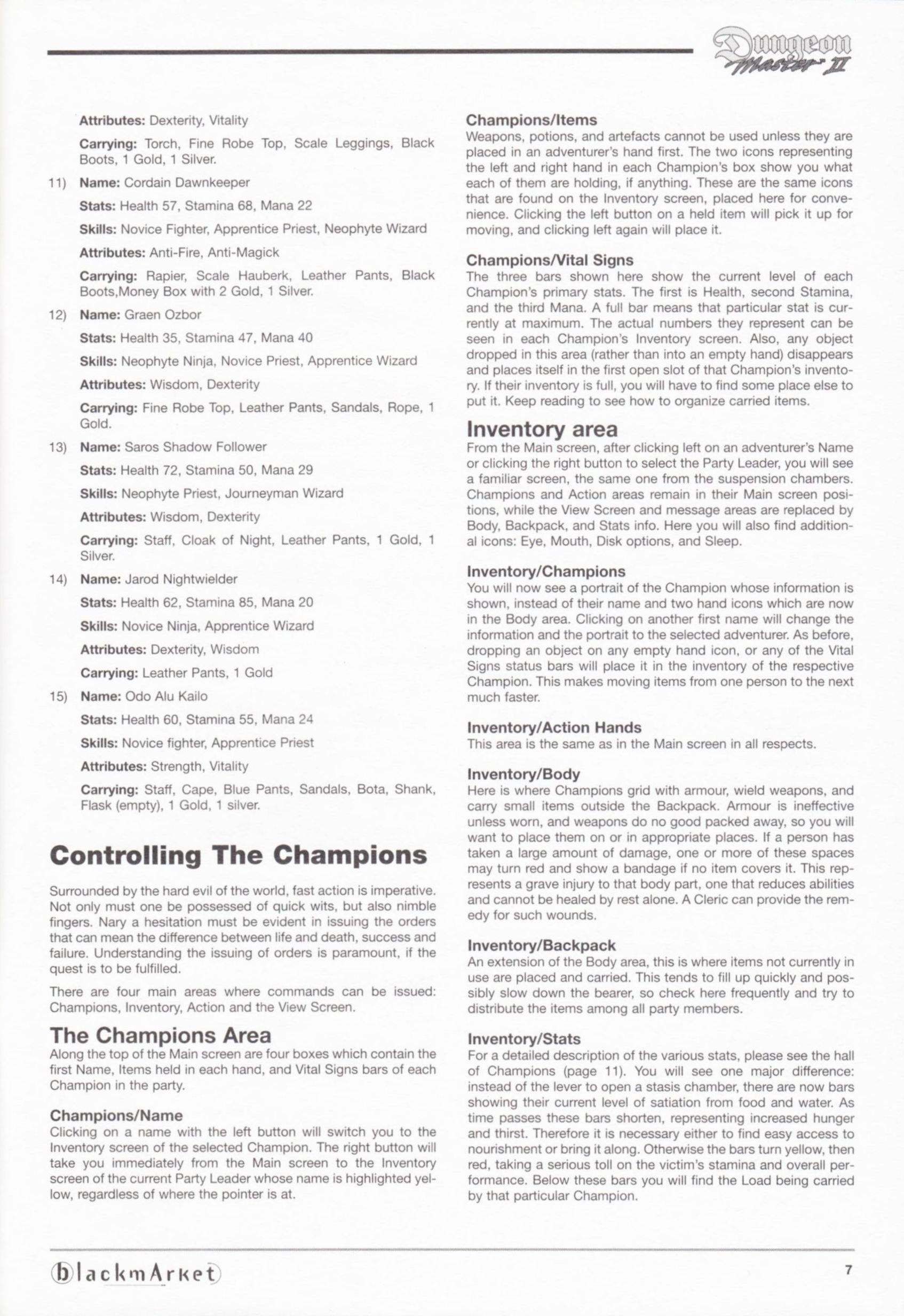 Game - Dungeon Master II - DE - PC - Blackmarket With Manual - Manual - Page 009 - Scan