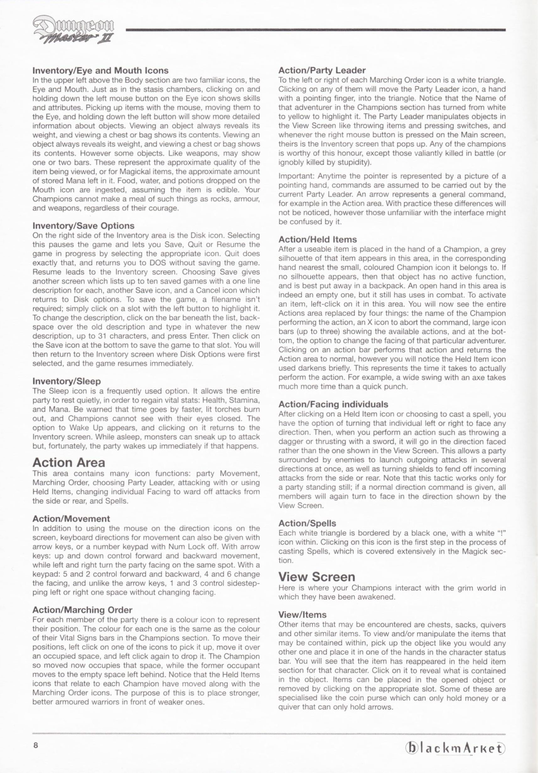 Game - Dungeon Master II - DE - PC - Blackmarket With Manual - Manual - Page 010 - Scan