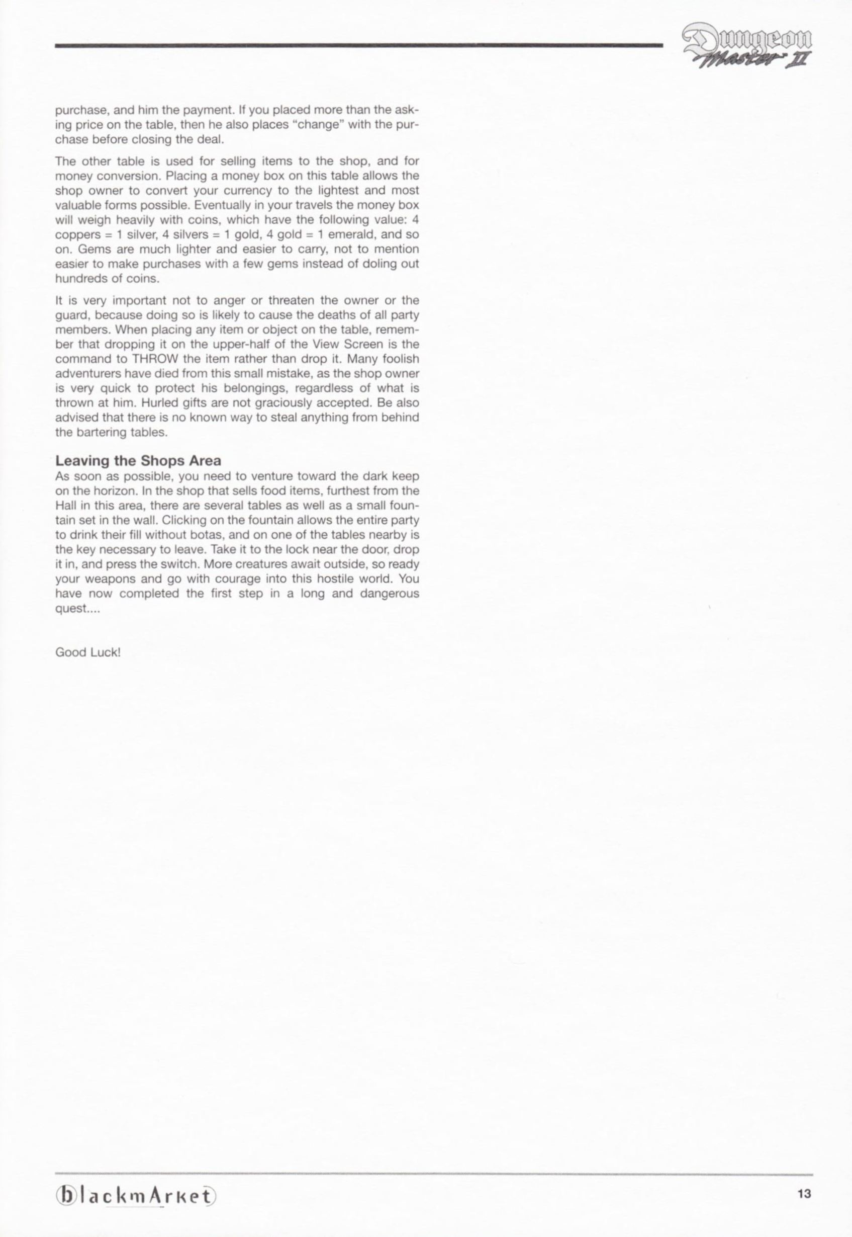 Game - Dungeon Master II - DE - PC - Blackmarket With Manual - Manual - Page 015 - Scan