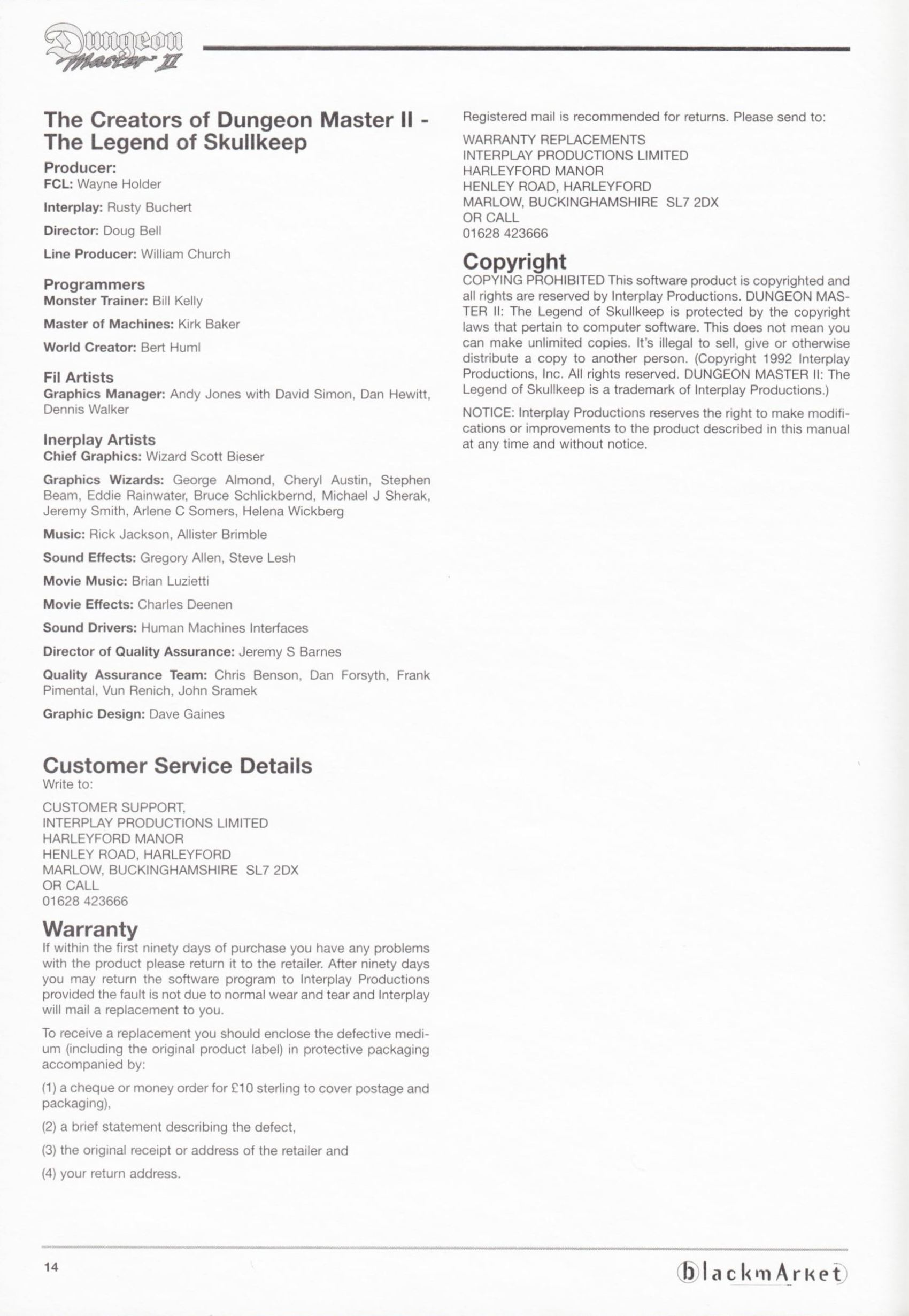 Game - Dungeon Master II - DE - PC - Blackmarket With Manual - Manual - Page 016 - Scan