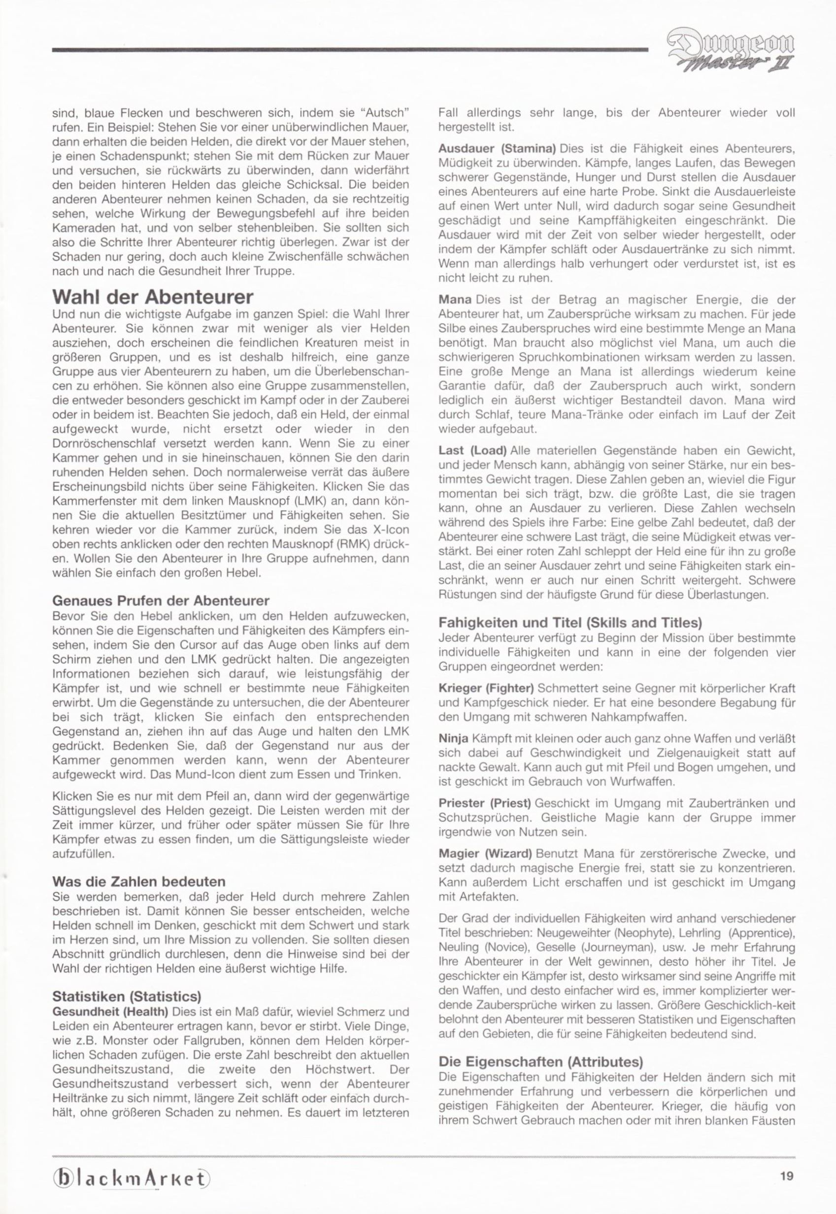 Game - Dungeon Master II - DE - PC - Blackmarket With Manual - Manual - Page 021 - Scan