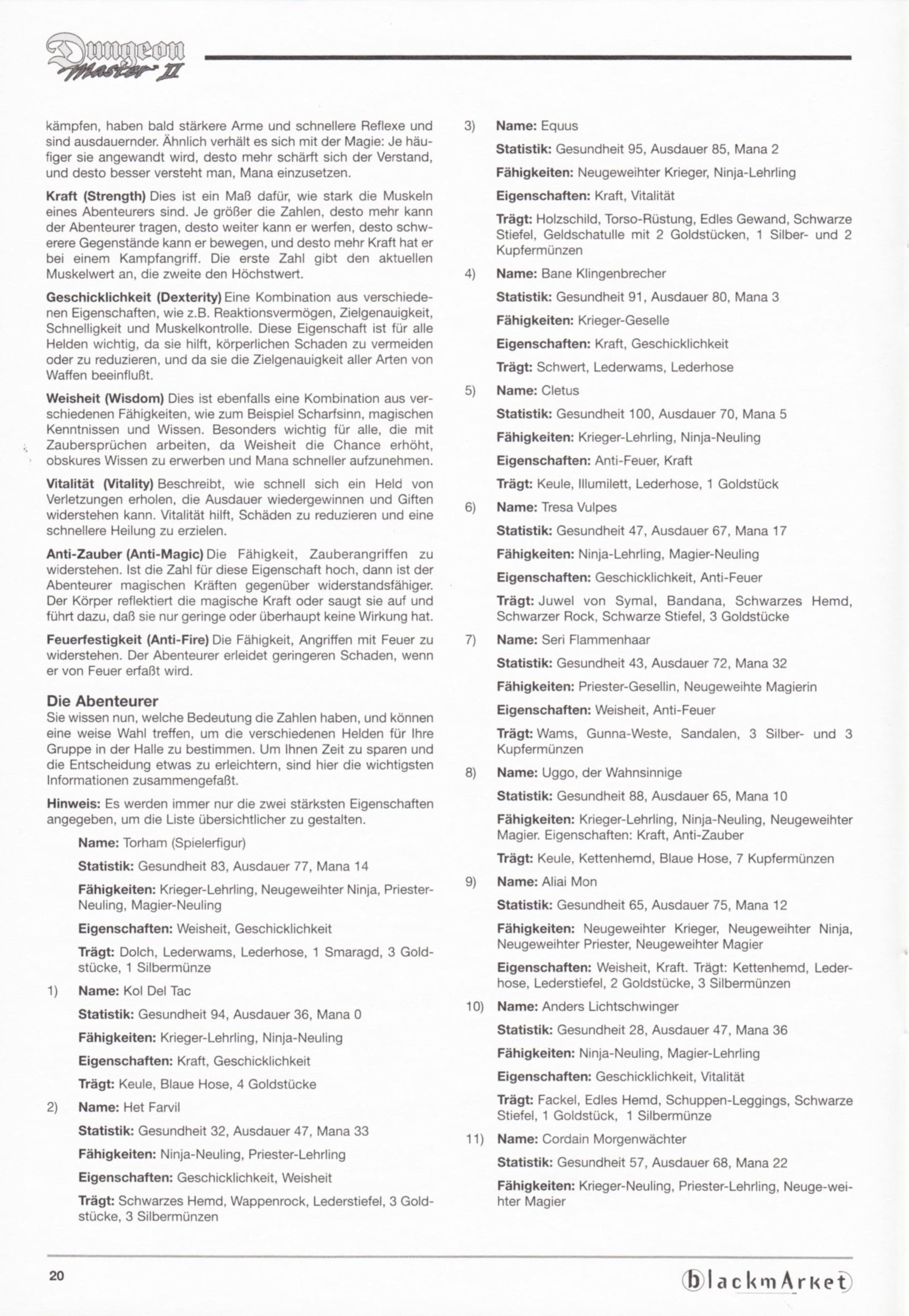 Game - Dungeon Master II - DE - PC - Blackmarket With Manual - Manual - Page 022 - Scan